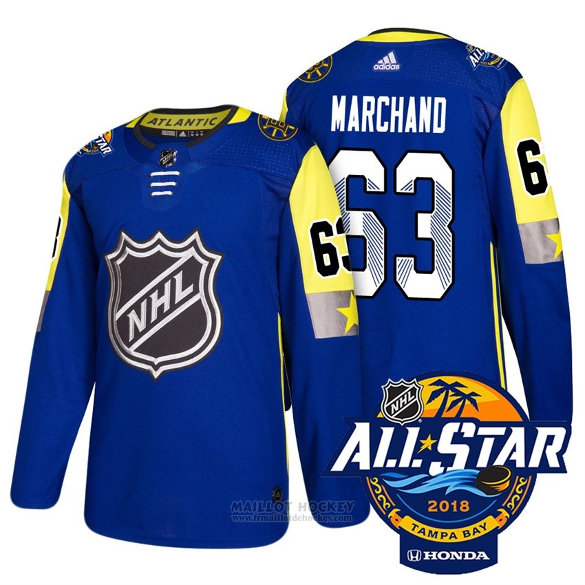 Maillot Boston Bruins 63 Brad Marchand Bleu 2018 All Star Authentique