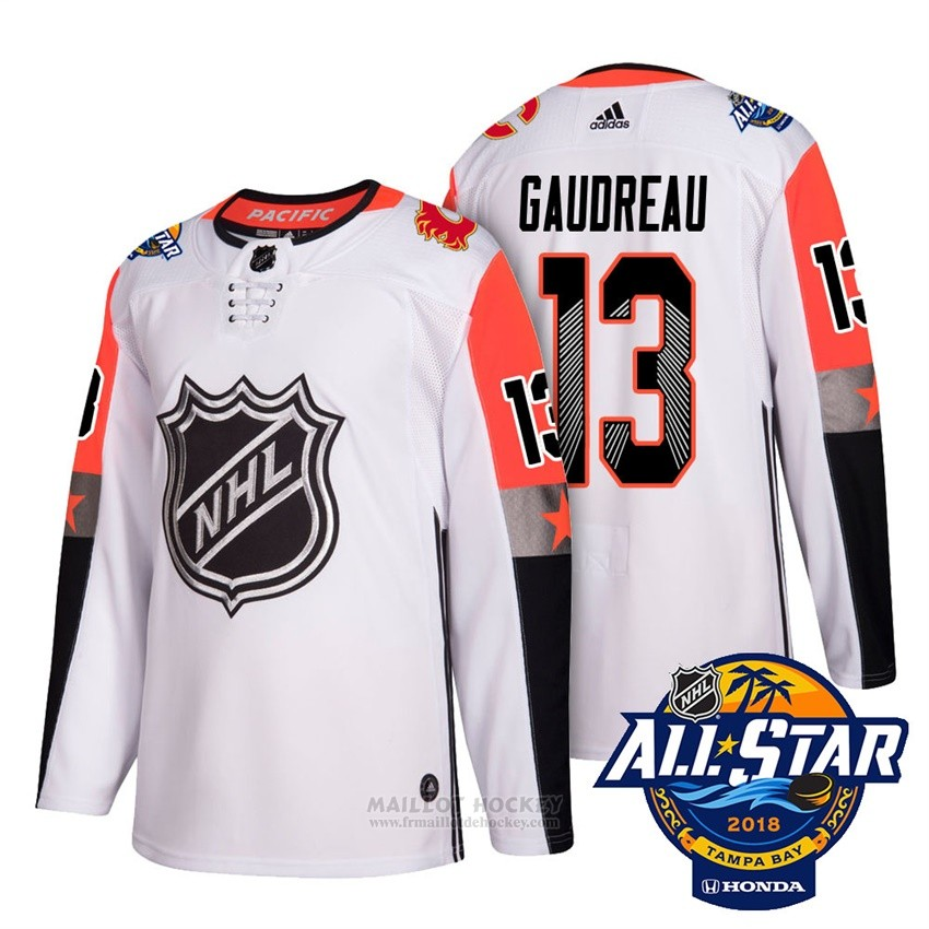 Maillot Calgary Flames 13 Johnny Gaudreau Blanc 2018 All Star Authentique