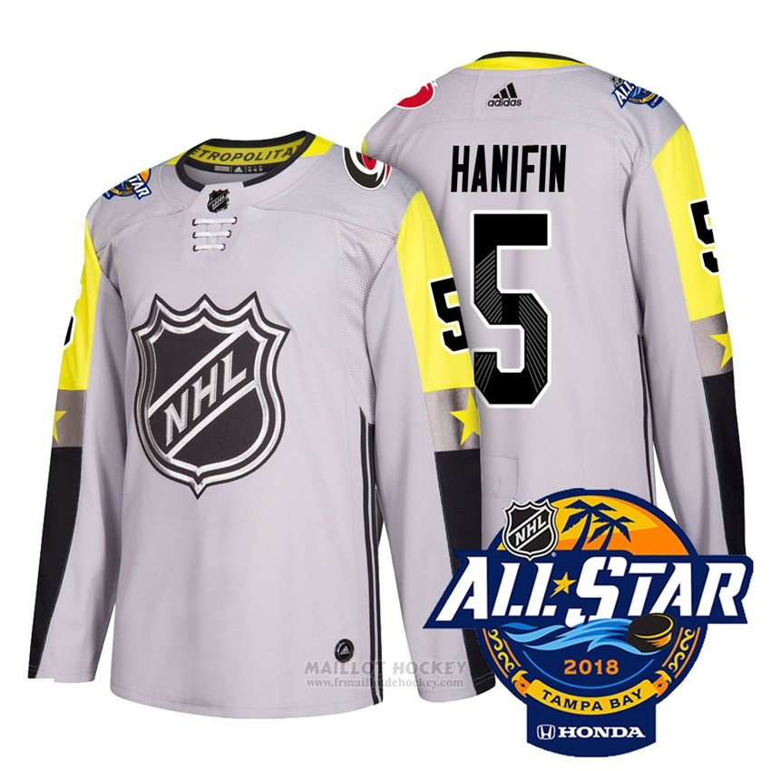 Maillot Carolina Hurricanes 5 Noah Hanifin Gris 2018 All Star Authentique