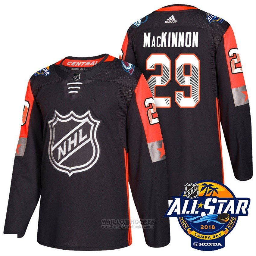 Maillot Colorado Avalanche 29 Nathan Mackinnon Noir 2018 All Star Authentique