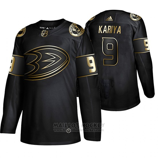 Maillot Anaheim Ducks Paul Kariya Golden Edition Retired Joueur Authentique Noir