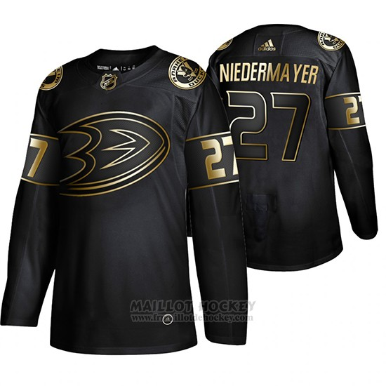 Maillot Anaheim Ducks Scott Niedermayer Golden Edition Retired Joueur Authentique Noir