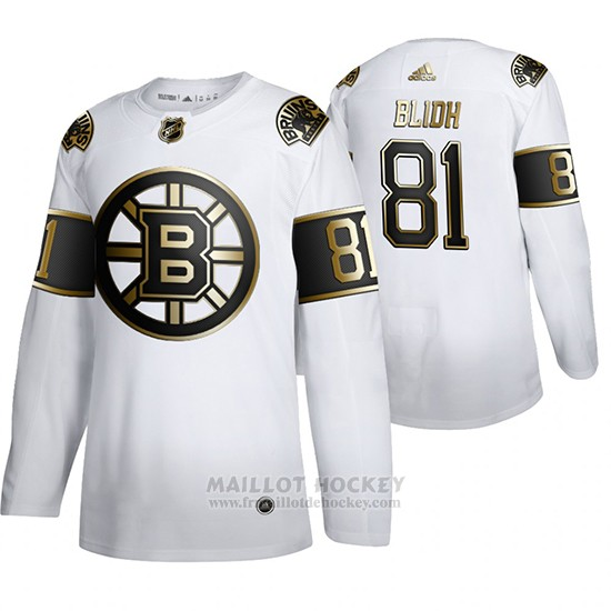 Maillot Boston Bruins Anton Blidh Golden Edition Limited Blanc