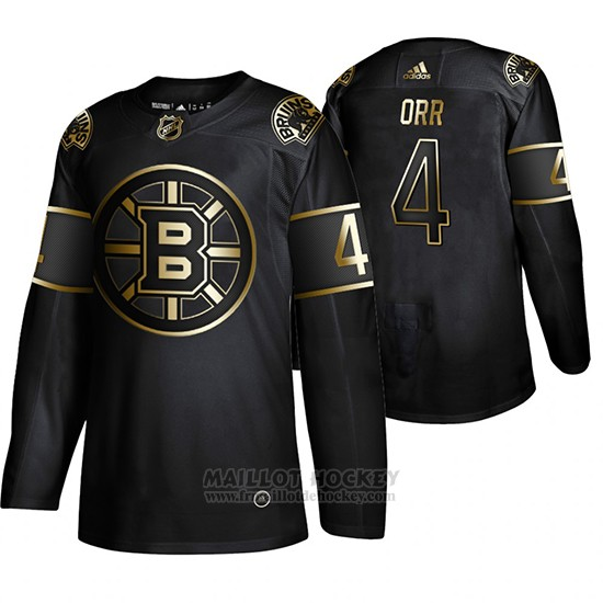 Maillot Boston Bruins Bobby Orr Golden Edition Retired Joueur Authentique Noir