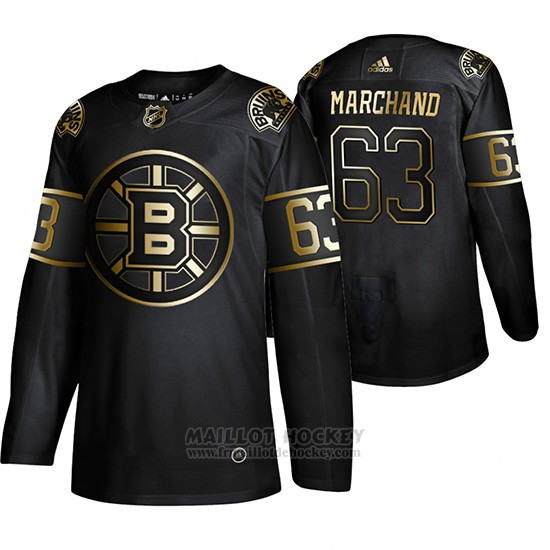 Maillot Boston Bruins Brad Marchand Golden Edition Authentique Noir