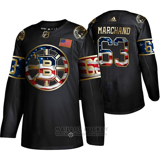 Maillot Boston Bruins Brad Marchand Independence Day Golden Edition Noir