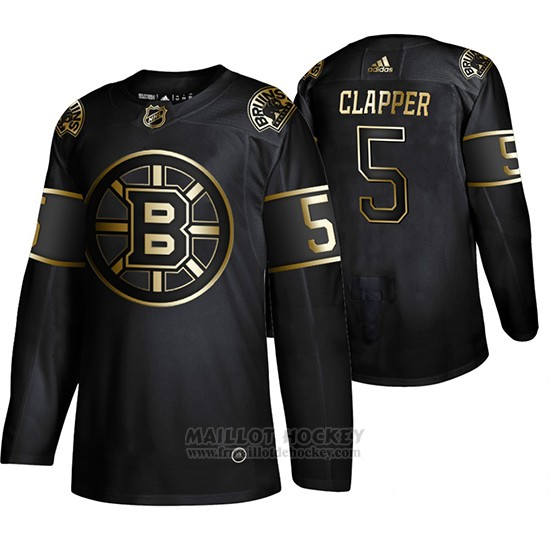 Maillot Boston Bruins Dit Clapper Golden Edition Retired Joueur Authentique Noir