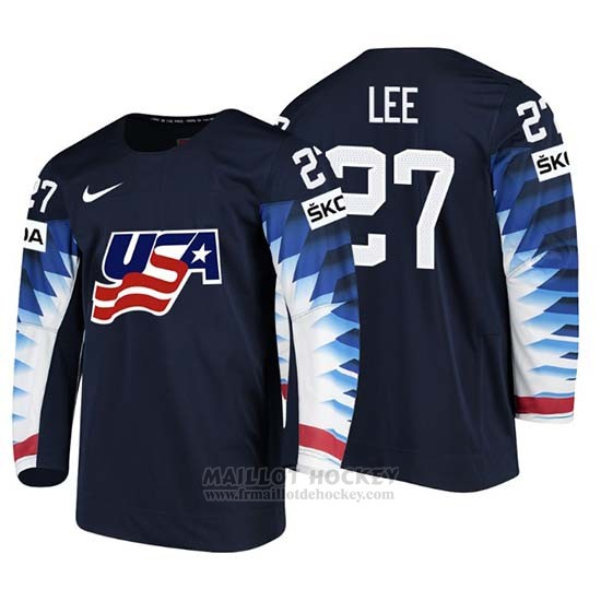 Maillot USA Anders Lee 2018 IIHF Men World Championship Joueur Noir