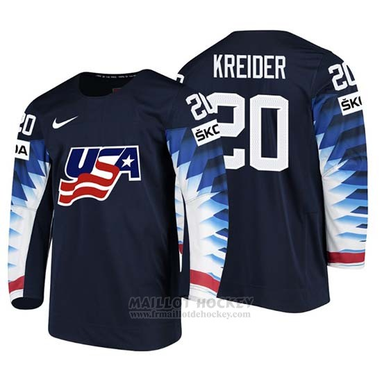Maillot USA Chris Kreider 2018 IIHF Men World Championship Joueur Noir