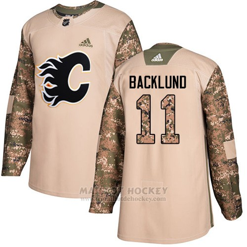 Maillot Enfant Calgary Flames 11 Mikael Backlund Camo Authentique 2017 Veterans Day Stitched