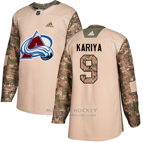 Maillot Enfant Colorado Avalanche 9 Paul Kariya Camo Authentique 2017 Veterans Day Stitched