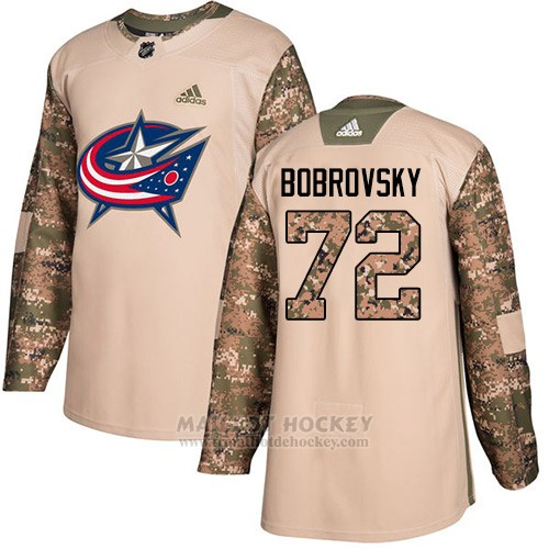 Maillot Enfant Columbus Blue Jackets 72 Sergei Bobrovsky Camo Authentique 2017 Veterans Day Stitched