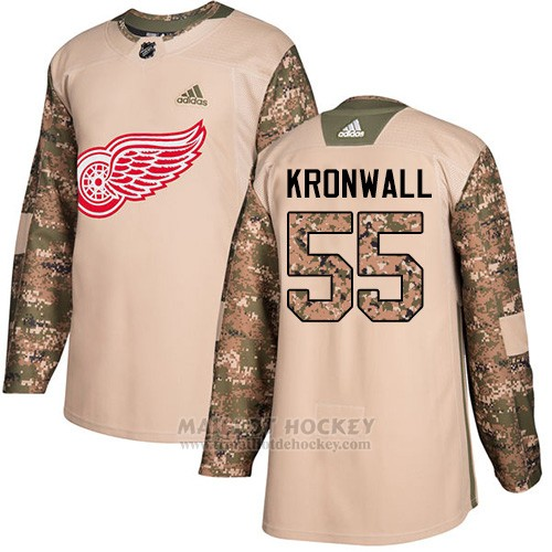 Maillot Enfant Detroit Red Wings 55 Niklas Kronwall Camo Authentique 2017 Veterans Day Stitched