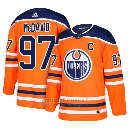 Maillot Enfant Edmonton Oilers 97 Connor Mcdavid Orange Home Authentique Fashion Or Stitched