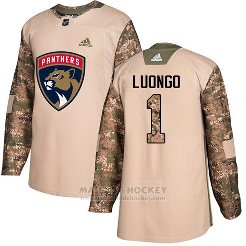 Maillot Enfant Florida Panthers 1 Roberto Luongo Camo Authentique 2017 Veterans Day Stitched
