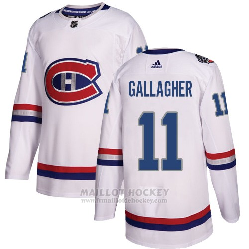 Maillot Enfant Montreal Canadiens 11 Brendan Gallagher Blanc Authentique 2017 100 Classic Stitched
