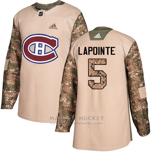Maillot Enfant Montreal Canadiens 5 Guy Lapointe Camo Authentique 2017 Veterans Day Stitched