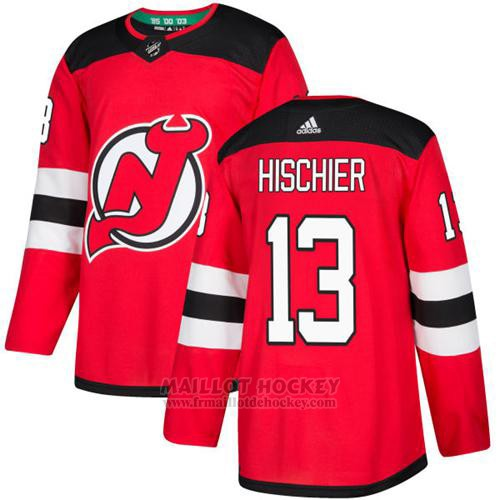 Maillot Enfant New Jersey Devils 13 Nico Hischier Rouge Home Authentique Stitched