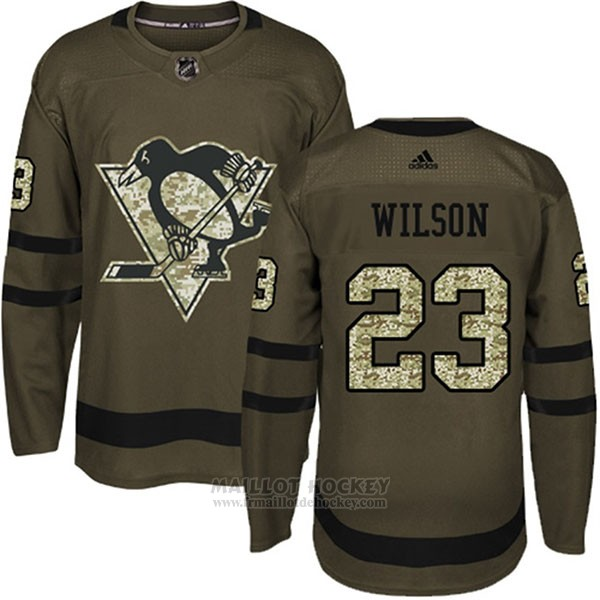 Maillot Enfant Penguins 23 Scott Wilson Salute To Service 2018 Vert