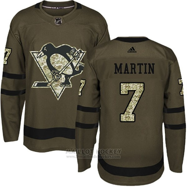 Maillot Enfant Penguins 7 Paul Martin Salute To Service 2018 Vert
