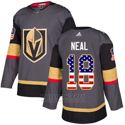 Maillot Enfant Vegas Golden Knights 18 James Neal Gris Home Authentique USA Flag Stitched