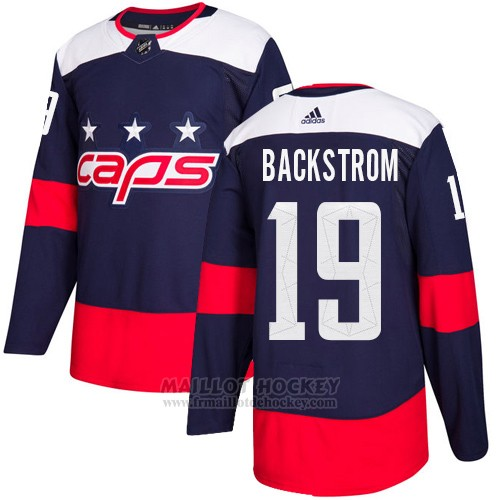 Maillot Enfant Washington Capitals 19 Nicklas Backstrom Bleu Authentique 2018 Stadium Series Stitched
