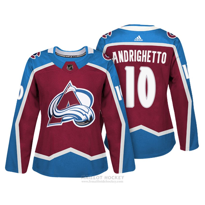 Maillot Femme Colorado Avalanche 10 Sven Andrighetto Maroon Authentique Joueur