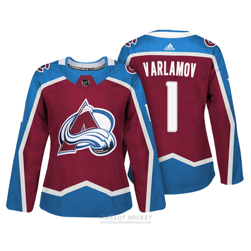 Maillot Femme Colorado Avalanche 1 Semyon Varlamov Maroon Authentique Joueur