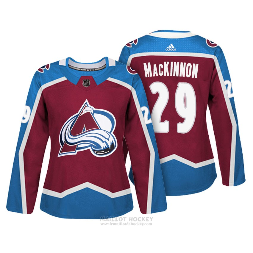Maillot Femme Colorado Avalanche 29 Nathan Mackinnon Maroon Authentique Joueur