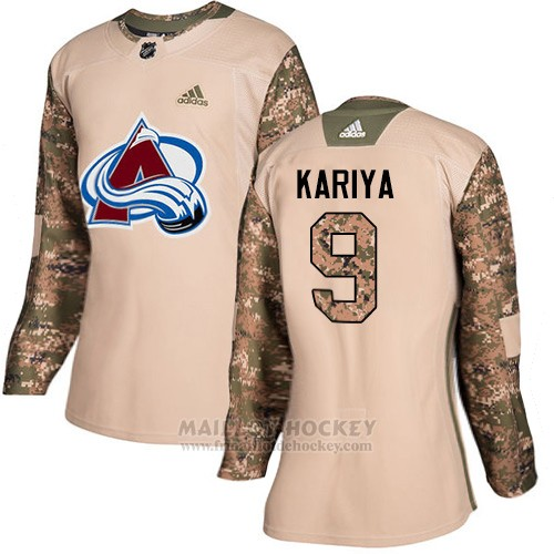 Maillot Femme Colorado Avalanche 9 Paul Kariya Camo Authentique 2017 Veterans Day Stitched