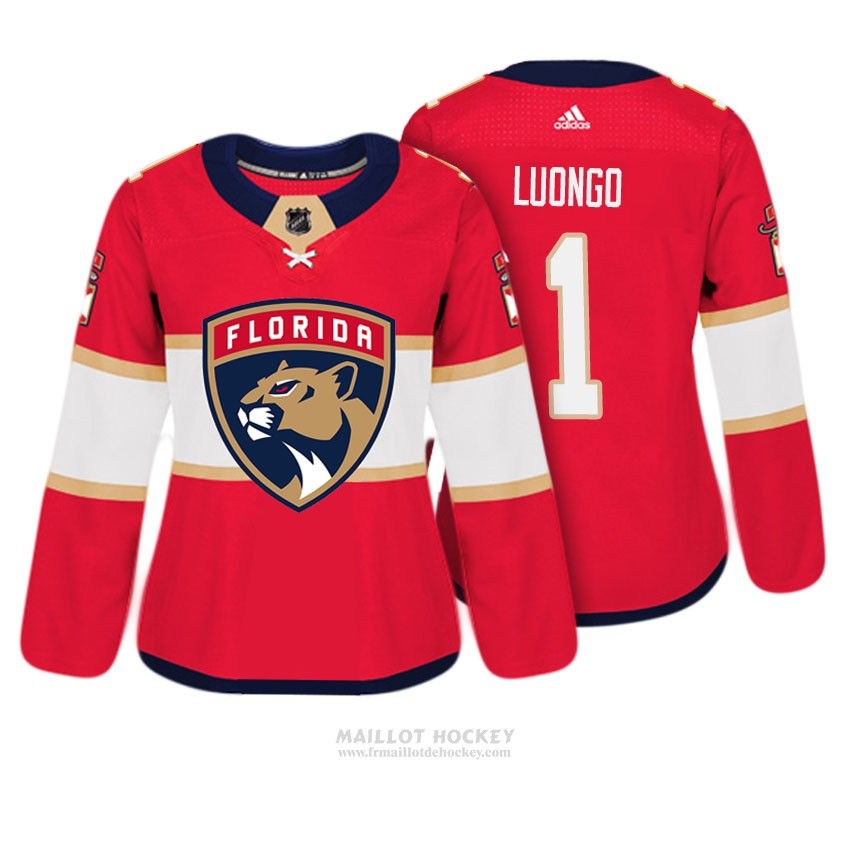 Maillot Femme Florida Panthers 1 Roberto Luongo Rouge Authentique Joueur
