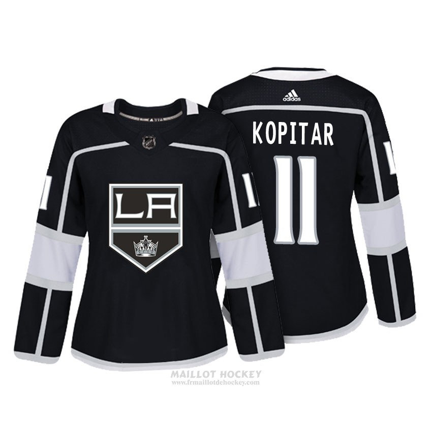 Maillot Femme Los Angeles Kings 11 Anze Kopitar Noir Authentique Joueur