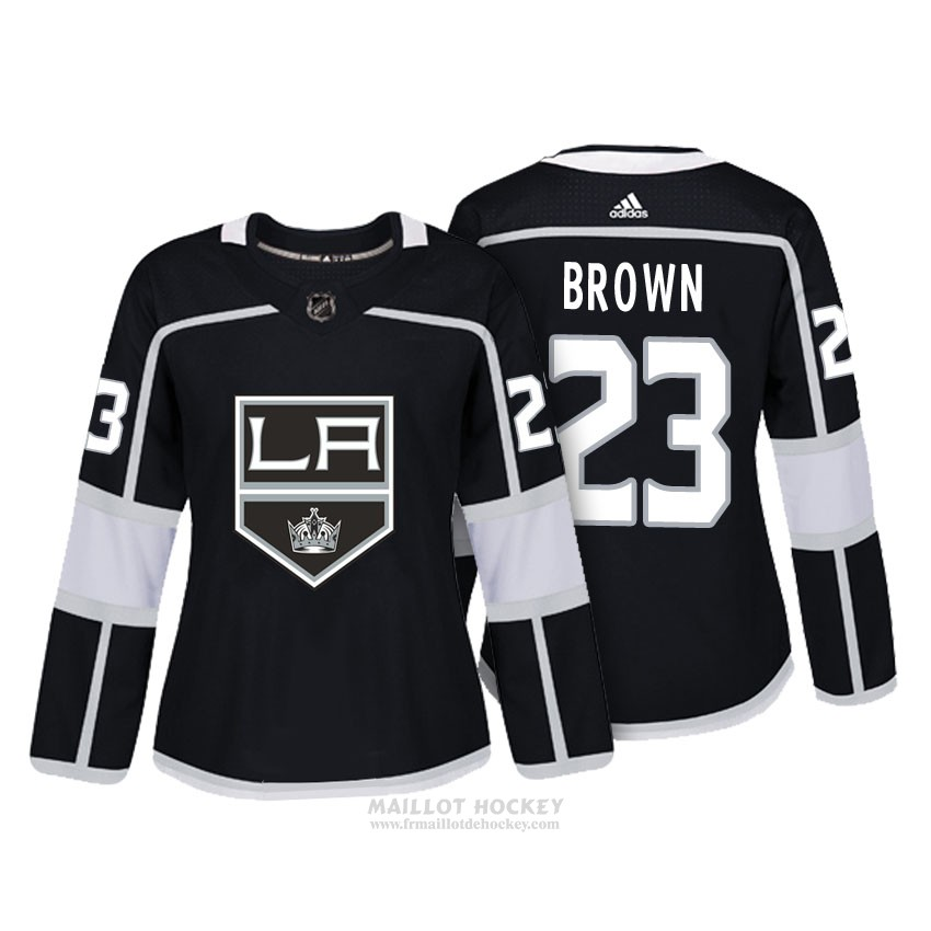 Maillot Femme Los Angeles Kings 23 Dustin Marron Noir Authentique Joueur
