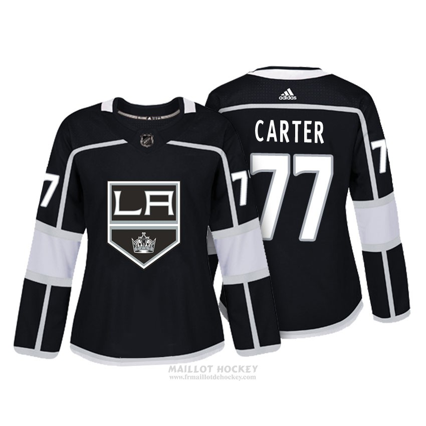 Maillot Femme Los Angeles Kings 77 Jeff Carter Noir Authentique Joueur
