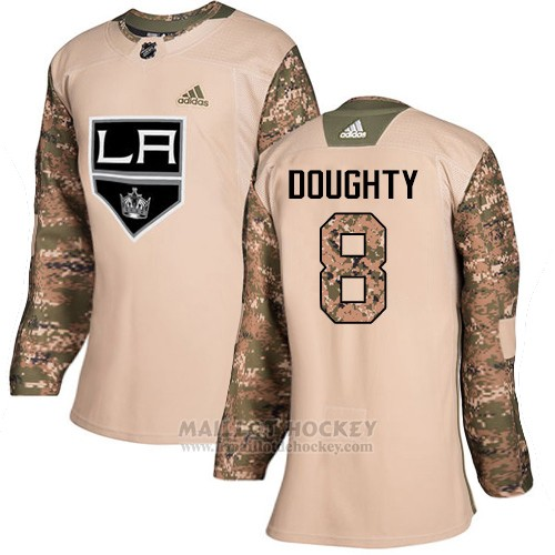 Maillot Femme Los Angeles Kings 8 Drew Doughty Camo Authentique 2017 Veterans Day Stitched