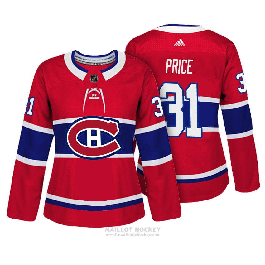 Maillot Femme Montreal Canadiens 31 Carey Price Rouge Authentique Joueur