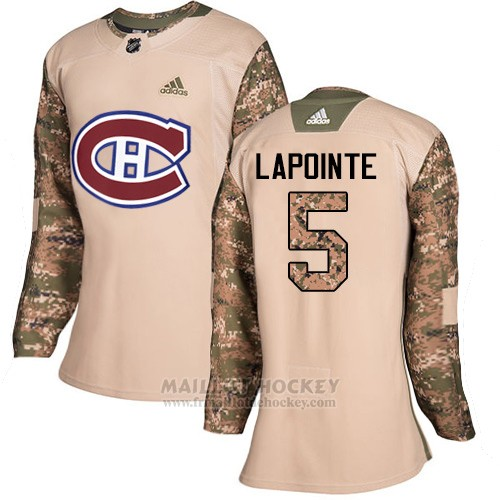 Maillot Femme Montreal Canadiens 5 Guy Lapointe Camo Authentique 2017 Veterans Day Stitched