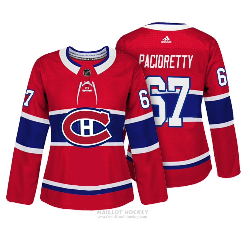 Maillot Femme Montreal Canadiens 67 Max Pacioretty Rouge Authentique Joueur