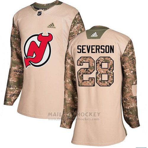Maillot Femme New Jersey Devils 28 Damon Severson Camo Authentique 2017 Veterans Day Stitched