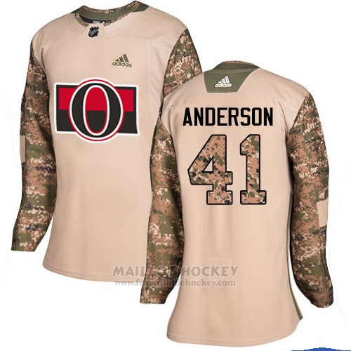 Maillot Femme Ottawa Senators 41 Craig Anderson Camo Authentique 2017 Veterans Day Stitched