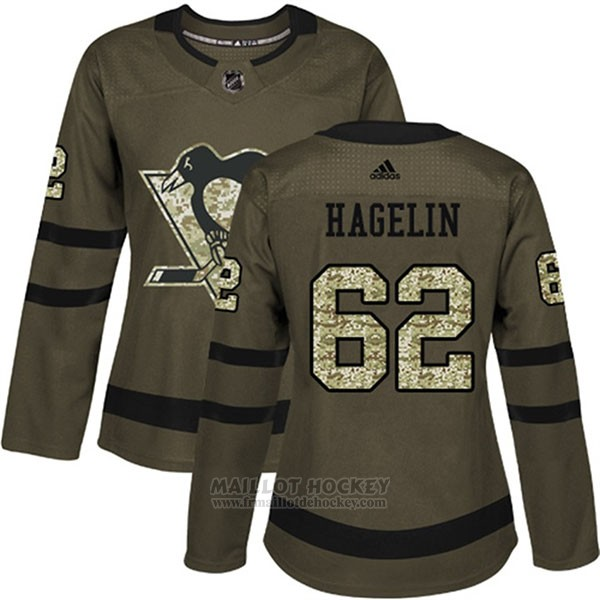 Maillot Femme Penguins 62 Carl Hagelin Salute To Service 2018 Vert