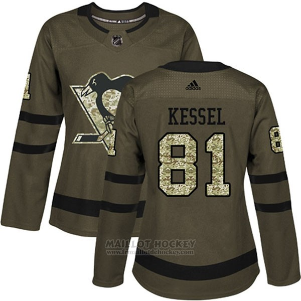 Maillot Femme Penguins 81 Phil Kessel Salute To Service 2018 Vert