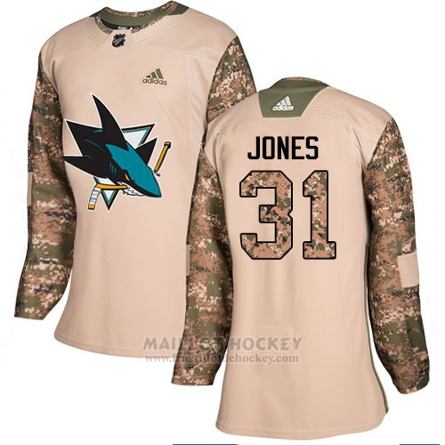 Maillot Femme San Jose Sharks 31 Martin Jones Camo Authentique 2017 Veterans Day Stitched