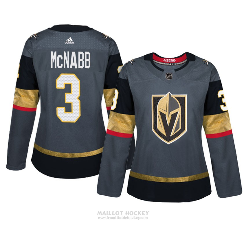 Maillot Femme Vegas Golden Knights 3 Brayden Mcnabb Gris Authentique Home