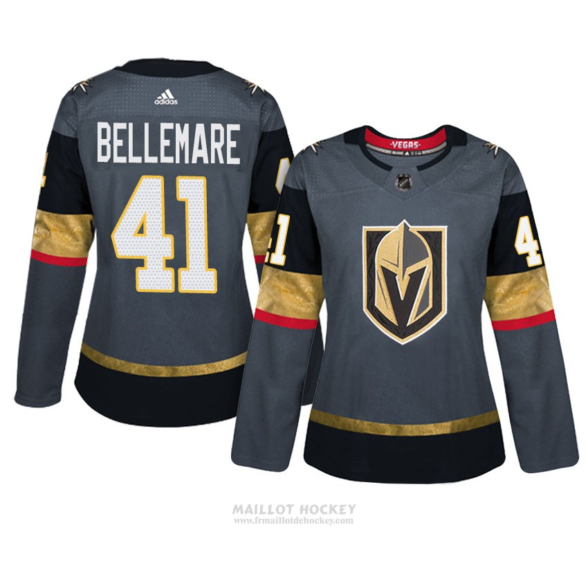 Maillot Femme Vegas Golden Knights 41 Pierre Edouard Bellemare Gris Authentique Home