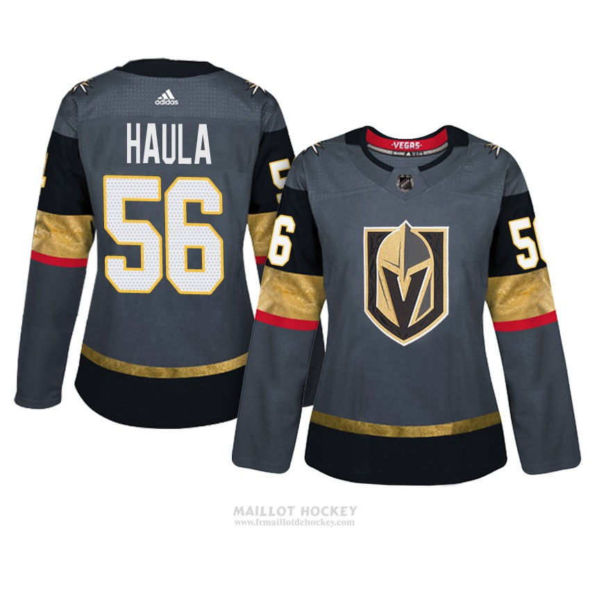 Maillot Femme Vegas Golden Knights 56 Erik Haula Gris Authentique Home