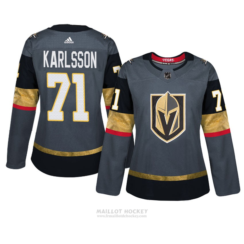 Maillot Femme Vegas Golden Knights 71 William Karlsson Gris Authentique Home