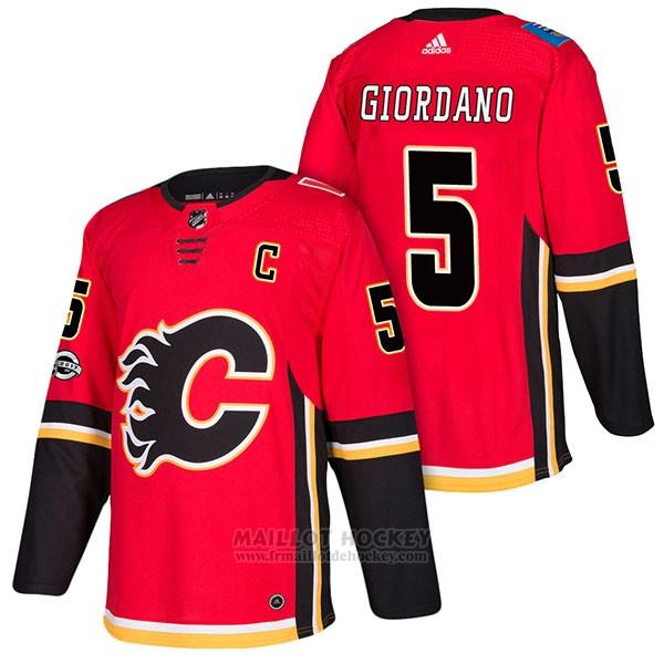 Maillot Authentique Calgary Flames 5 Mark Giordano Home 2018 Rouge