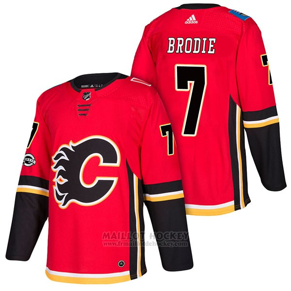 Maillot Authentique Calgary Flames 7 Tj Brodie Home 2018 Rouge