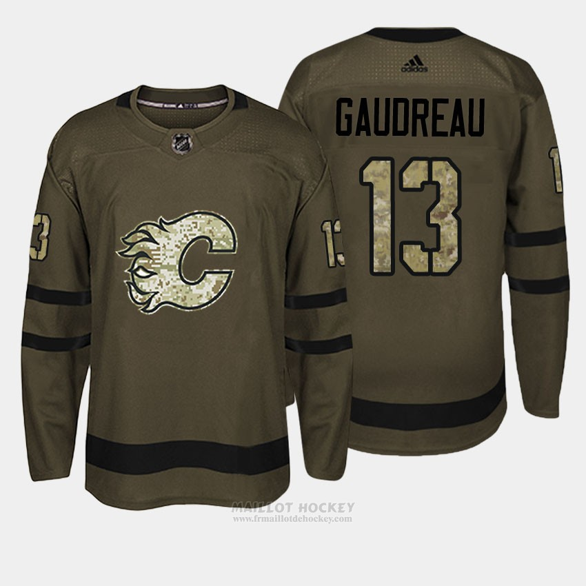 Maillot Calgary Flames 13 Johnny Gaudreau Vert Salute To Service